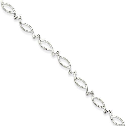 Sterling Silver 10inch Solid Polished Fancy Knot-Link Anklet