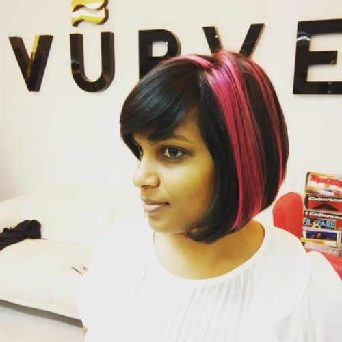 blunt cut hairstyles with pink highlights suited to indian hair