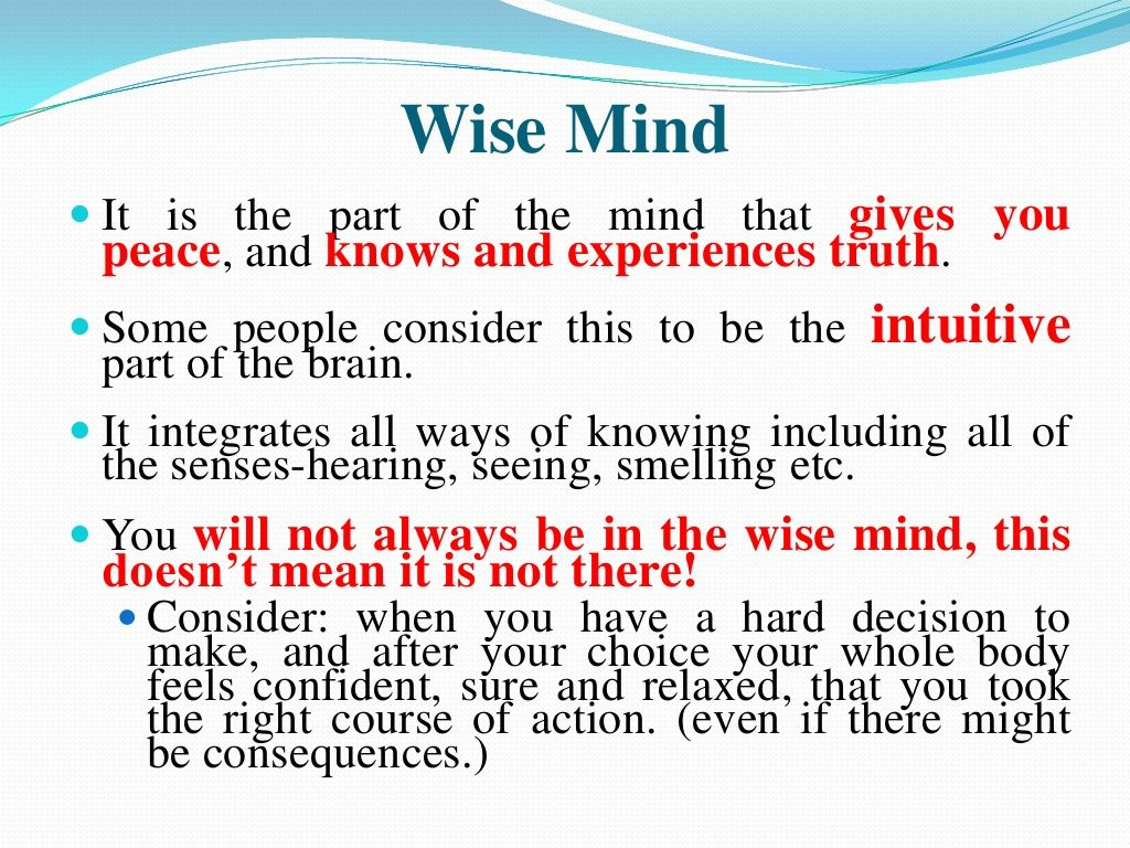 Dbt Mindfulness Wise Mind