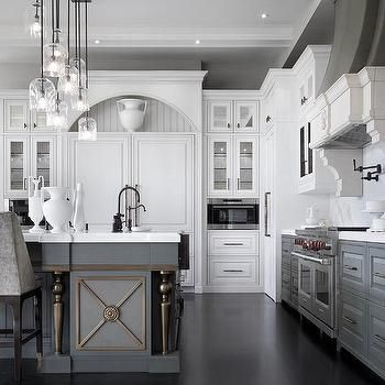 White Upper Cabinets And Gray Lower Cabinets With Gray Kitchen