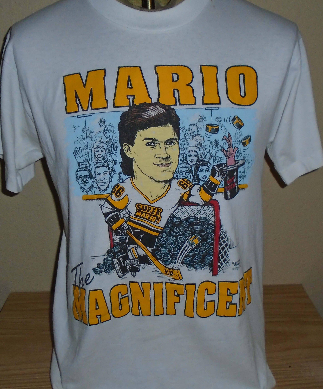b9b386fd6fa vintage 1980s Mario Pittsburgh Penguins Hockey t shirt Large by  vintagerhino247 on Etsy