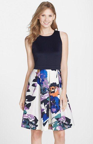 1db034baf3d35 I love a good pleat. Gabby Skye Print Mixed Media Fit   Flare Dress ...