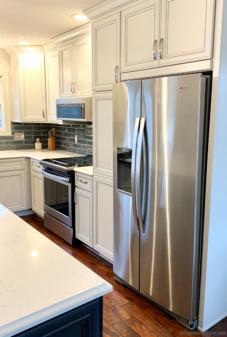Rock Island Kitchen Remodel With Side By Side Counter Depth Whirlpool Refrigerator Village Hom Kitchen Remodel Kitchen Renovation Modern Kitchen Design