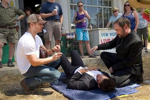Ok, breathe, and enjoy the director Jensen with Misha and Mark. & Misha lying on the ground next to Jensen.