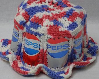 3acc6e9dde5 Crochet PEPSI Soda Pop CAN Hat Vintage 1970 s USA Patriotic Bucket Style  70 s Collectible Aluminum Beer Can