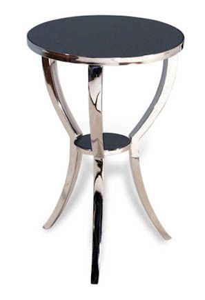 "Polished Nickel And Granite Side Table d16"" x h25"""