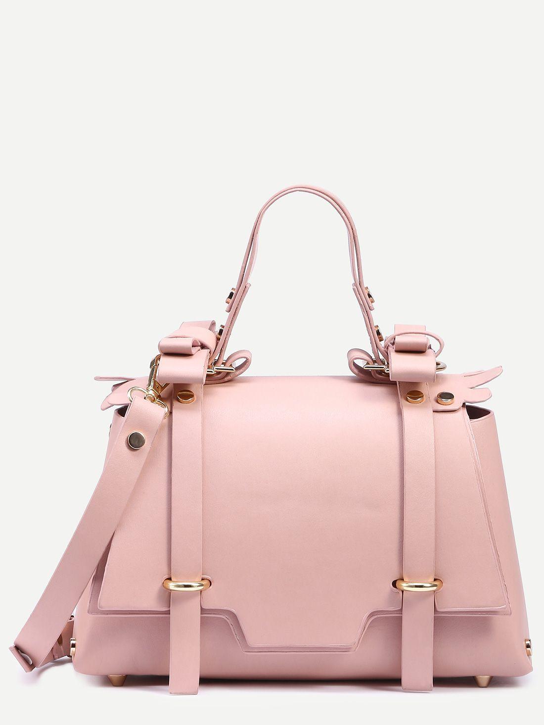 Pink+Dual+Buckled+Strap+Front+Studded+Satchel+Bag+27.99