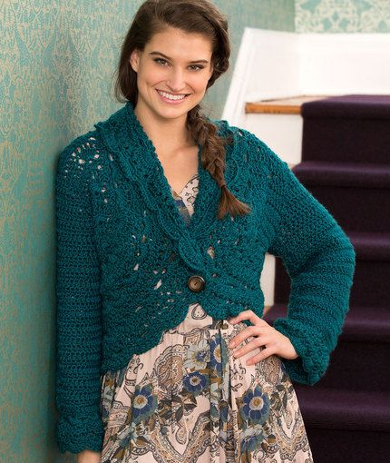 Buttoned Lace Cardigan By Kimberly K. McAlindin - Free Crochet Pattern - (redheart)
