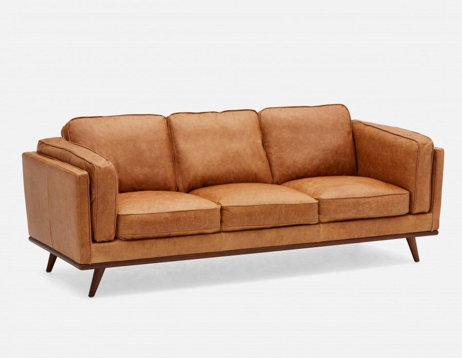 Best Rowan Caramel 100 Leather 3 Seater Sofa Structube 400 x 300