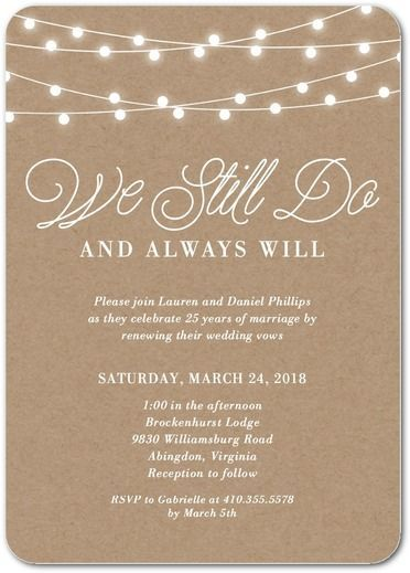 Rustic Backyard - Signature White Vow Renewal Invitations - anniversary invitation