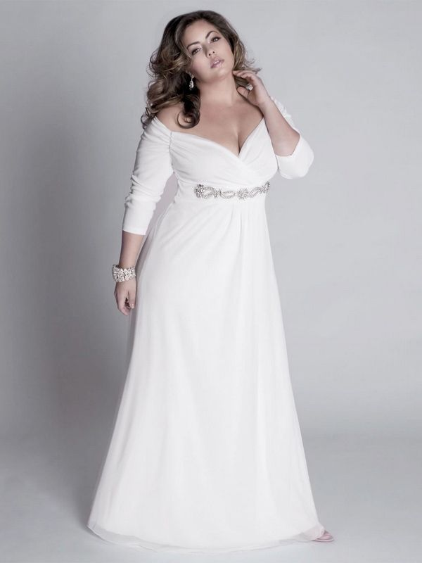 Chiffon Plus Size Wedding Dress With Off The Shoulder And Three