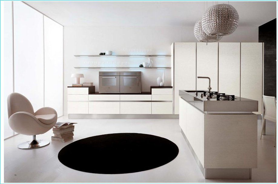 White high gloss Brava Handle-less Kitchens by Cucine Lube ...