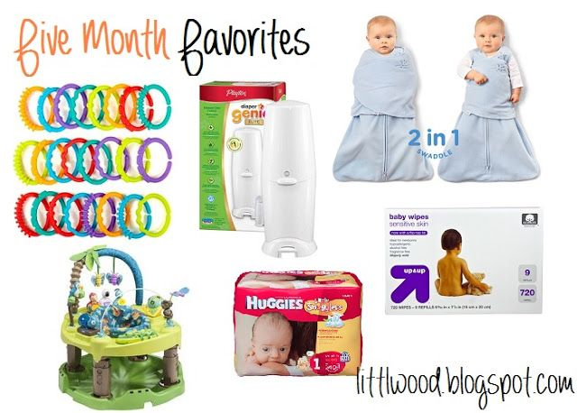 5 Month Favorites: Bright Start Lots of Links, Evenflo Exersaucer Trip fun in the amazon, Diaper Genie Elite, Huggies Little Snugglers, Halo Swaddle Sleepsack, Up & Up sensitive wipes