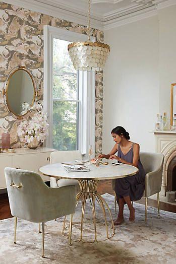 Anthro Slub Velvet Elowen Armchair And Seaford Pedestal Dining Extraordinary Arm Chair Dining Room