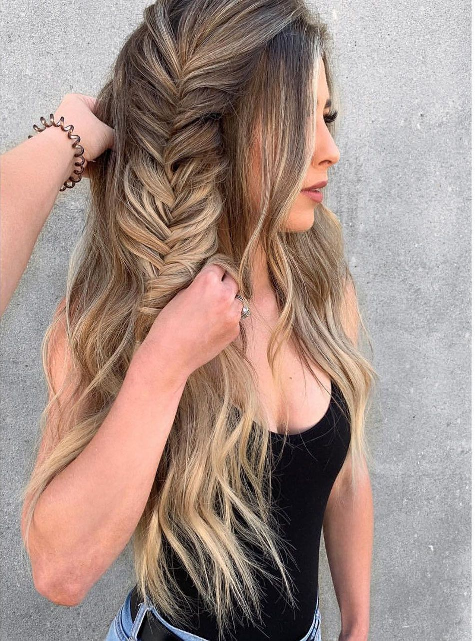 Big Braid With Side Tail Hairstyles Ideas 2019 Tail Hairstyle Hair Styles Big Braids