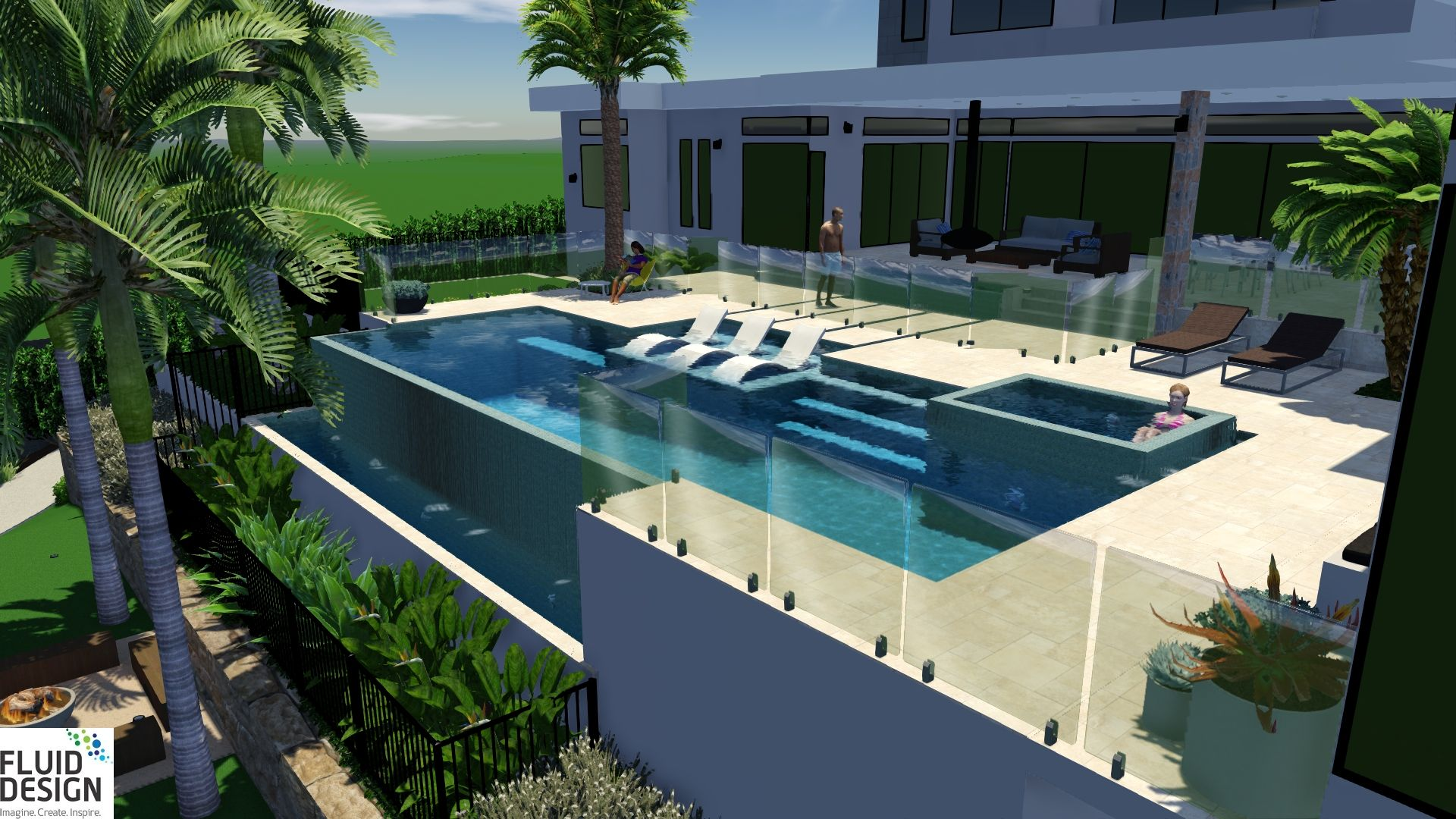 Stunning infinity edge pool with sunlounge swimout ...