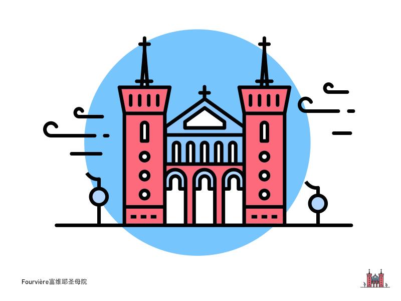 Basilica Of Notre Dame De Fourviere富维耶圣母院 Dribbble Line Art Design