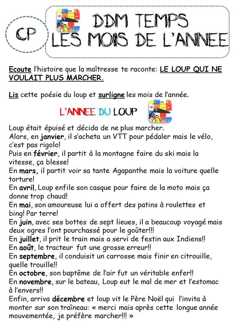 Top LES MOIS DE L'ANNEE AVEC LE LOUP - CP | CP-CE1 Questionner le  MY81