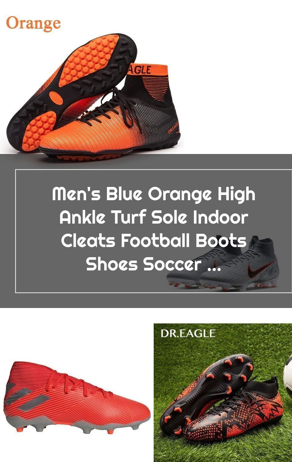 Men S Blue Orange High Ankle Turf Sole Indoor Cleats Football Boots Shoes Soccer Cleats 2020