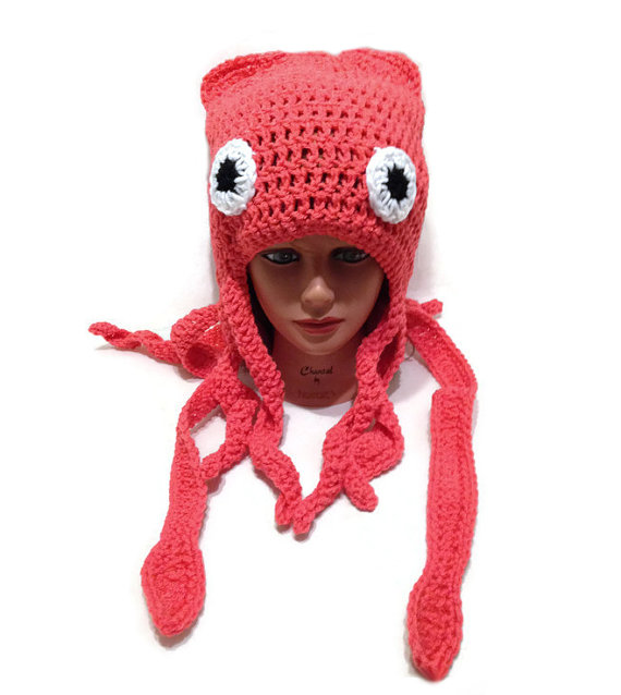 e38e02c1548 Squid Hat Squid Costume Squid Beanie Slouchy by AddSomeStitches