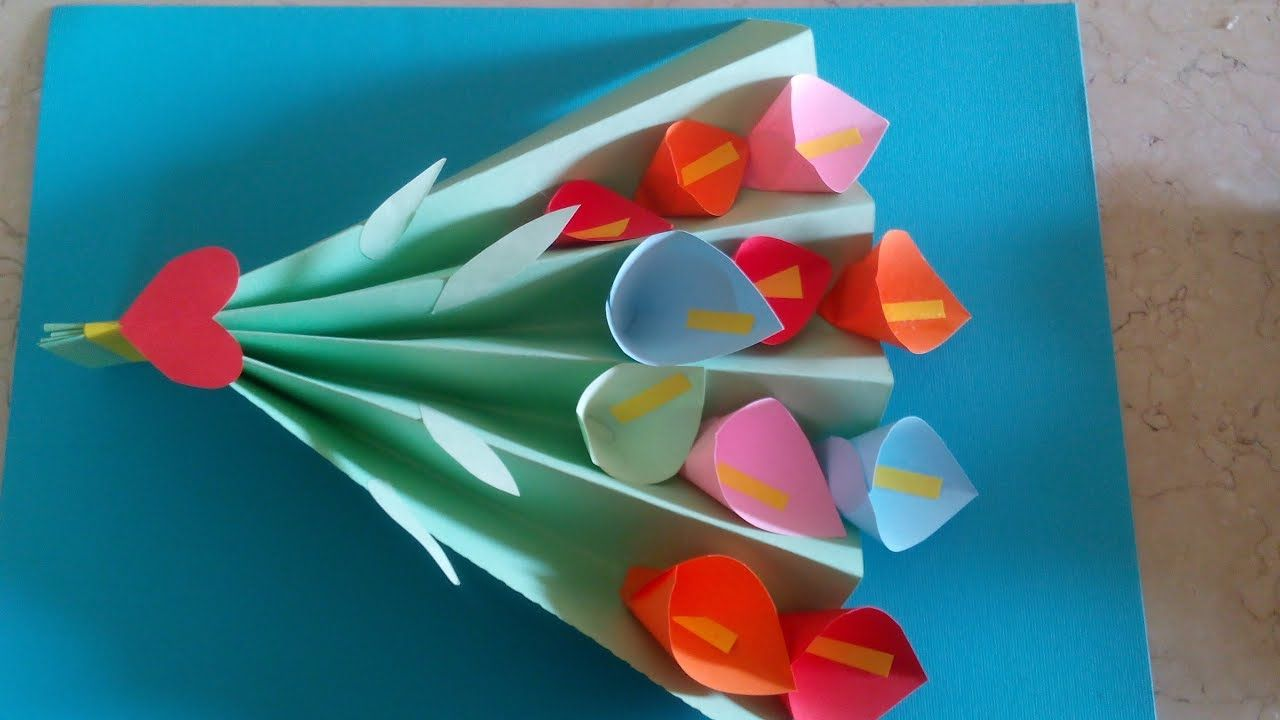 Diy Paper Crafts For Kids How To Make Paper Flower Bouquet For