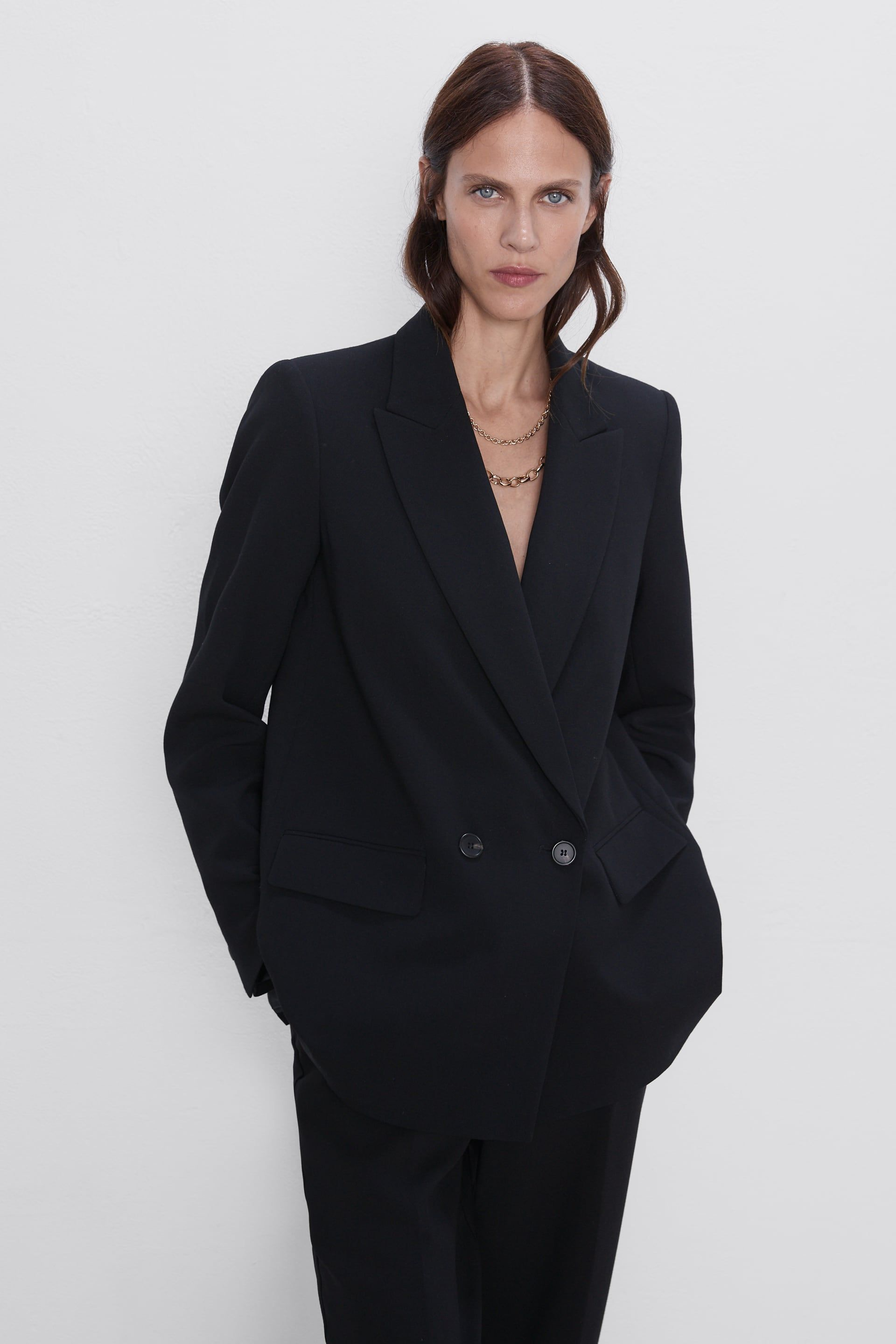 Double Breasted Buttoned Blazer New In Woman Zara United Kingdom Blue Blazer Women Blazer Blazer Coat