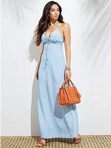 15f79fa54 Chambray Maxi Dress | GUESS.com | Style | Denim maxi dress, Dresses ...