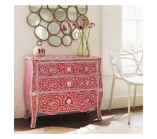 Floral Pink and Mother of Pearl Inlay Chest of Drawers | House and ...