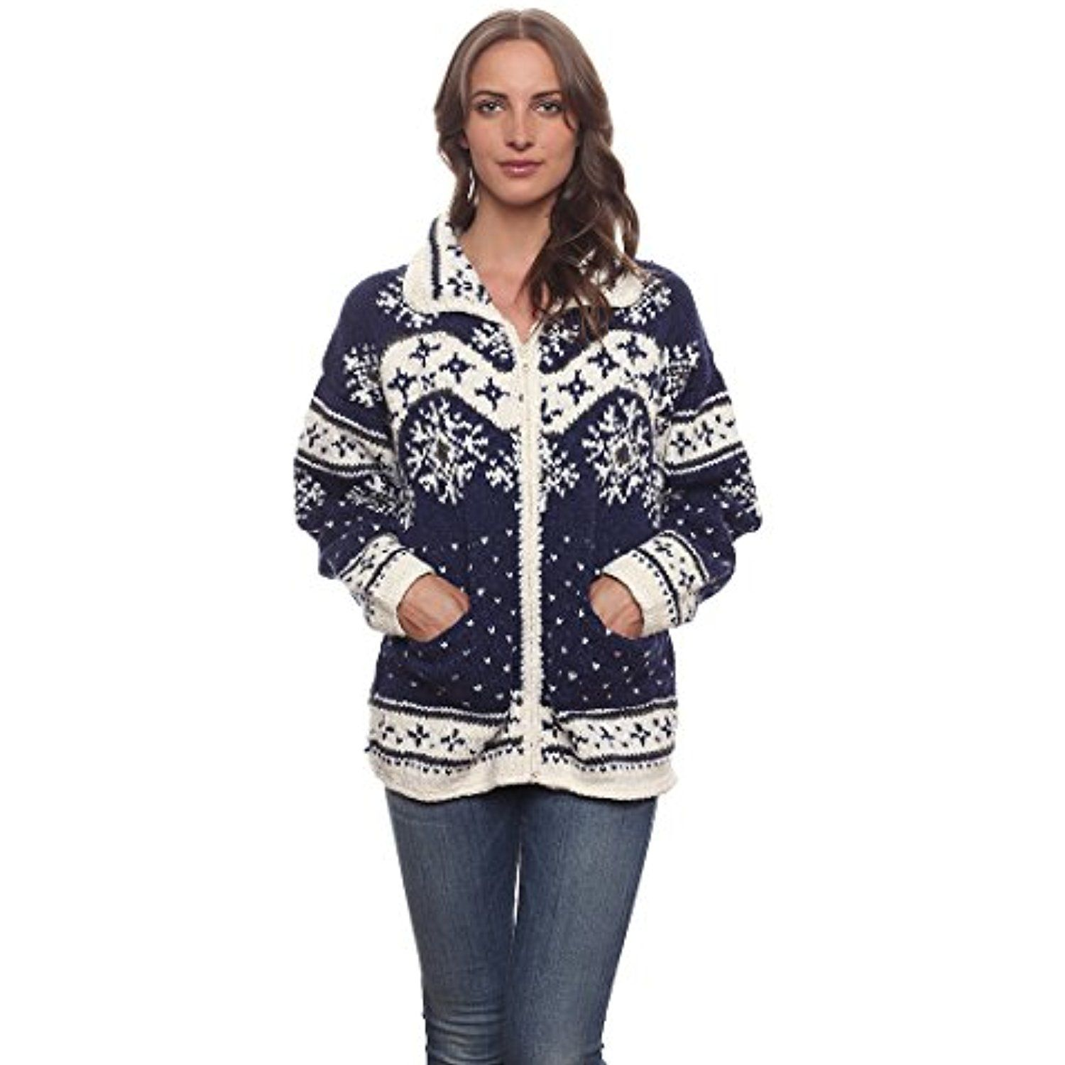 "Women's Otavalo Wool/Cotton Hand-Knit ""Nian†Cardigan Sweater ..."