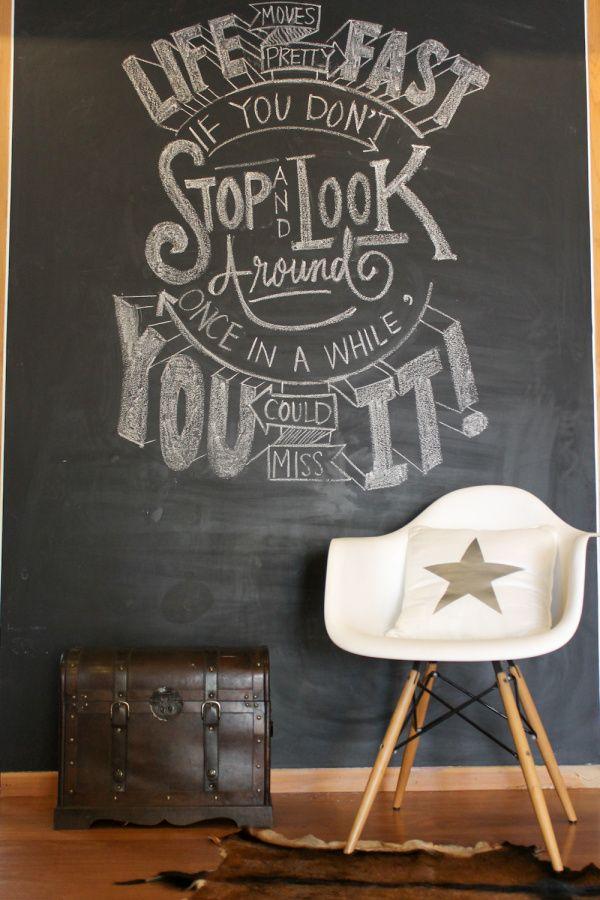 Chalkboard wall design | http://chuzailiving.wordpress.com/2014/01/28/chalkboard-art-for-january/