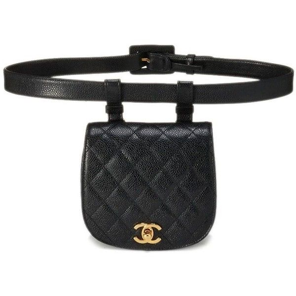 01f7f97ad8d1 Black Quilted Caviar Belt Bag 34 ❤ liked on Polyvore featuring bags, waist  pack bag, belt fanny pack, quilted bag, waist bag and bum bag