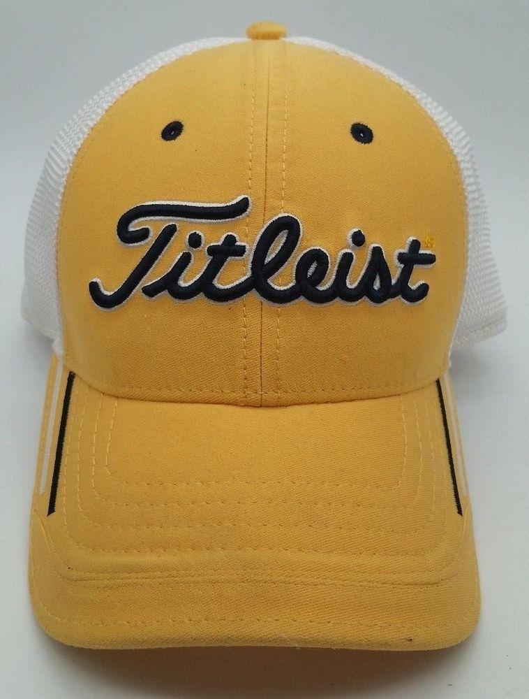 Titleist Golf Yellow Mesh Ball Cap Hat Size S M  Titleist  635ae43cc5a