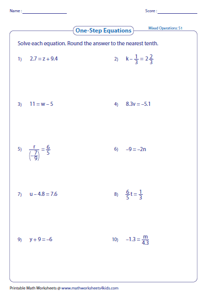 Solving One Step Linear Equations Worksheets