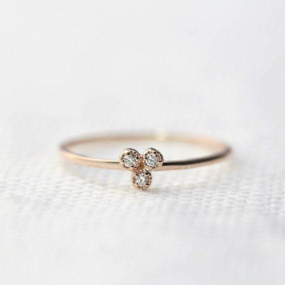 14k rose gold diamond trio ring diamond stackable by EnveroJewelry