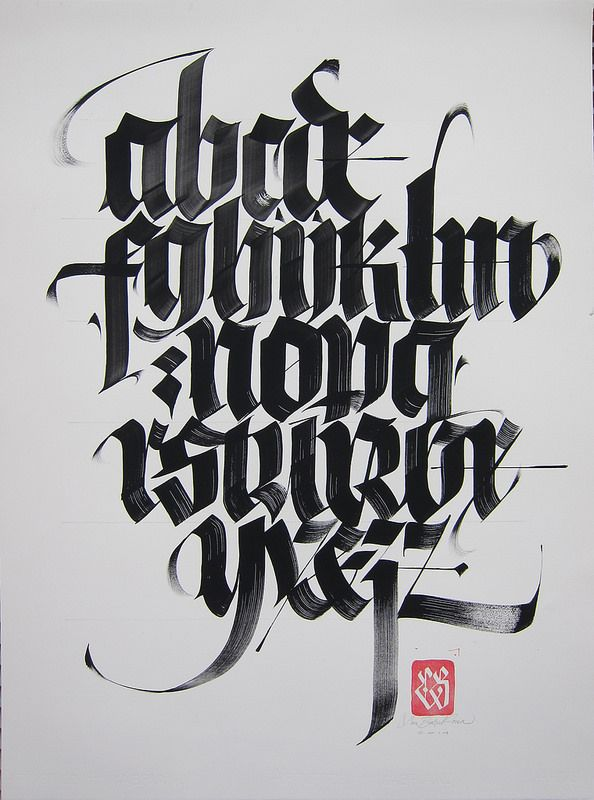 Blackletter alphabet business cards calligraphy and