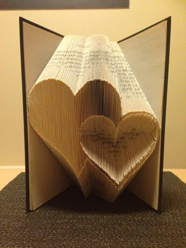 Book folding pattern for 2 Hearts ~ Love ~ Romance ~ Anniversary ~ Wedding +FREE tutorial
