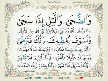 سورة الضحى Quran Surah Prayer For The Day Holy Quran