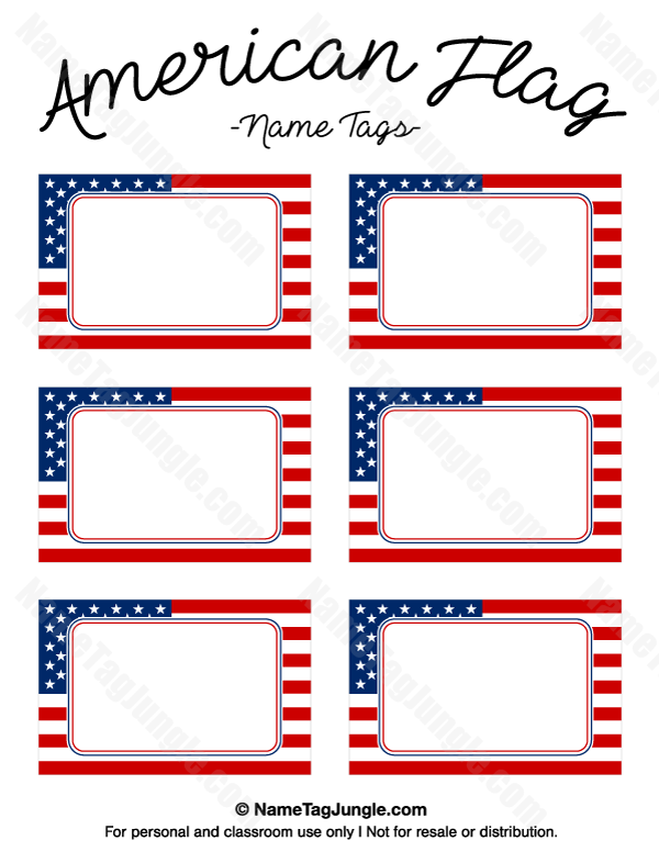 Printable American Flag Name Tags Flags With Names Name Tag Templates Name Tags
