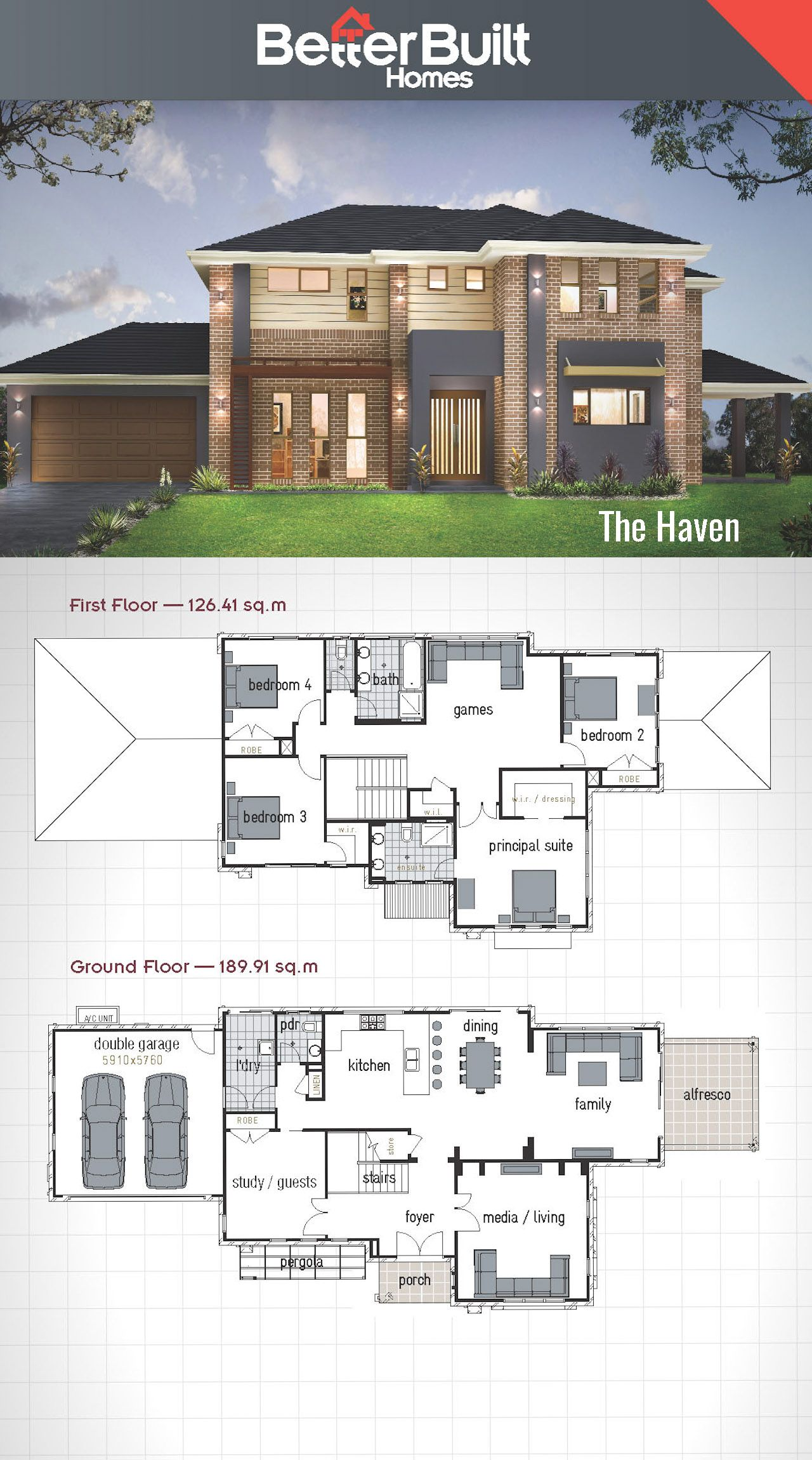 The haven double storey house design betterbuilt for 2 story villa floor plans