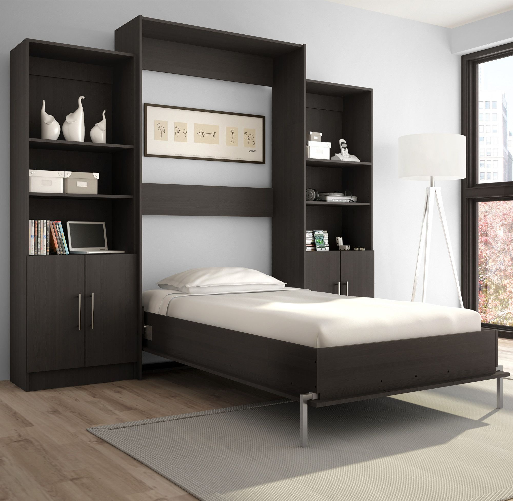 Best Jasamine Twin Murphy Bed Modern White Bed Twin Wall Bed 400 x 300