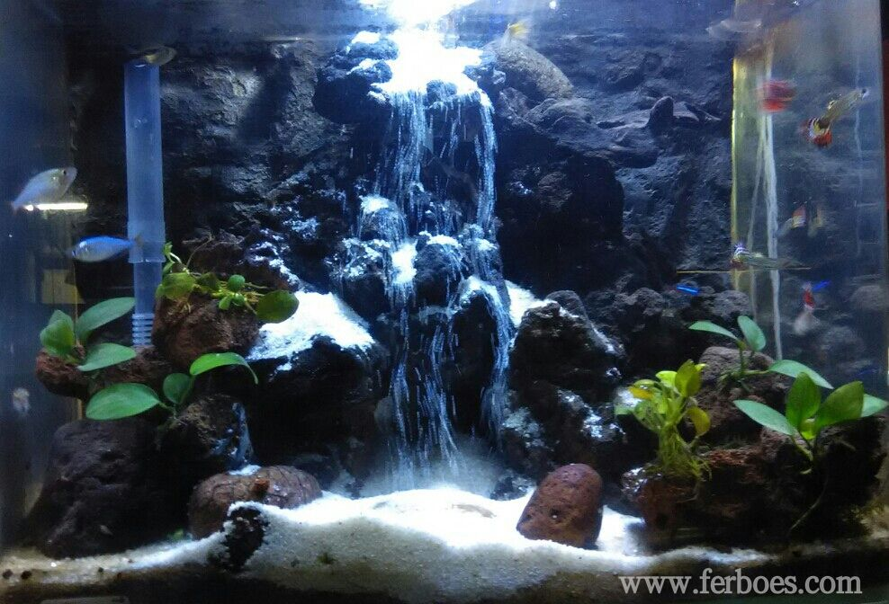 Aquarium sand waterfall air terjun pasir waterfall sand for Waterfall fish tank