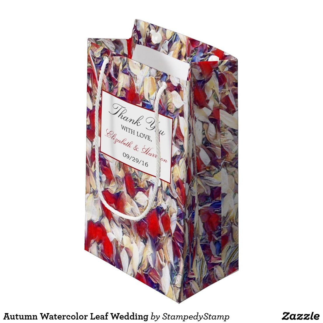 Autumn Watercolor Leaf Wedding Small Gift Bag Fall