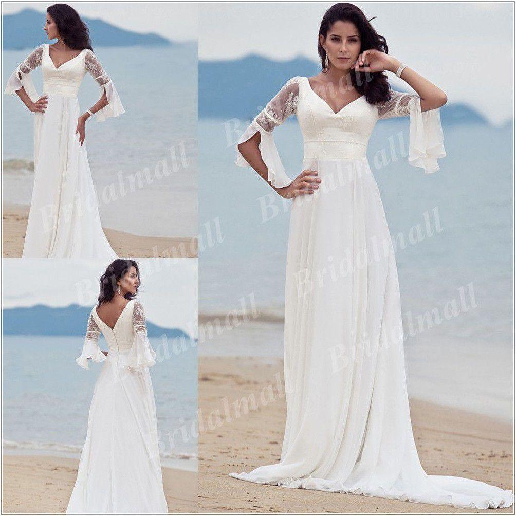 Plus Size Wedding Dresses Beach Long Sleeves Train