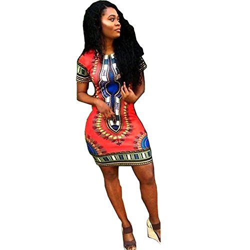 db3931cd772 Women Traditional African Print Dashiki Bodycon Plus Size Short Sleeve Dress  Red XLarge     Check out the image by visiting the link.