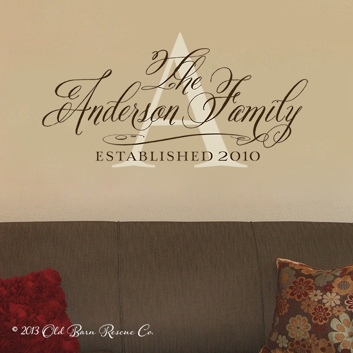 Family name monogram initial with year established personalized custom vinyl wall decal