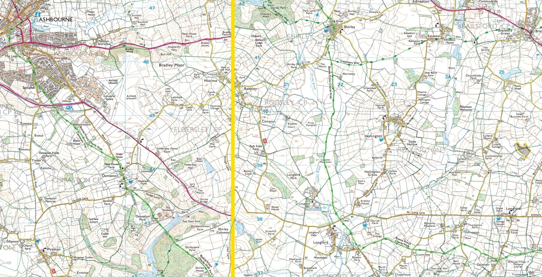 XL Bonnie Prince Charlie Walk Ashbourne to Derby back of the map