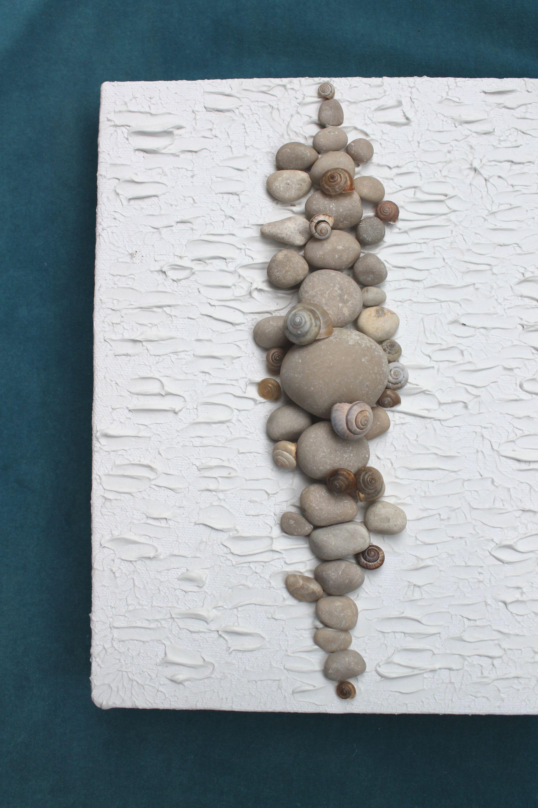 Basteln mit Steinen / Diy Steinbild ganz easy mit Modellierpaste selber machen #bastelnmitsteinen