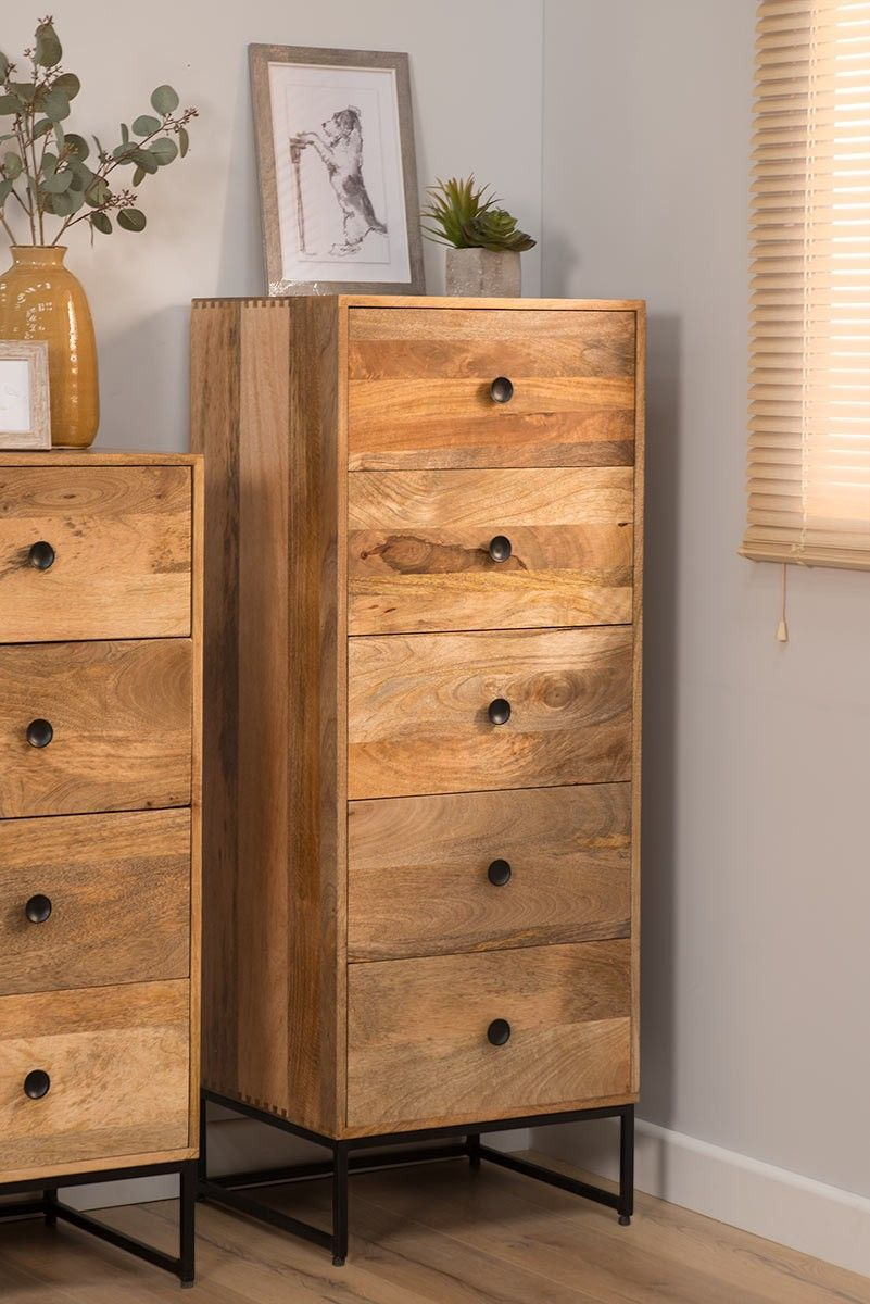 Light Mango Wood Industrial Tallboy Tall Chest Of Drawers Industrial Bedroom Furniture Tallboy Chest Of Drawers Industrial Furniture Wood