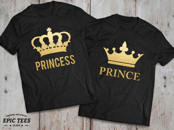 Prince Princess Couples Shirts, Prince and Princess Couples Shirt Set, Prince and Princess shirts, 100% cotton, UNISEX