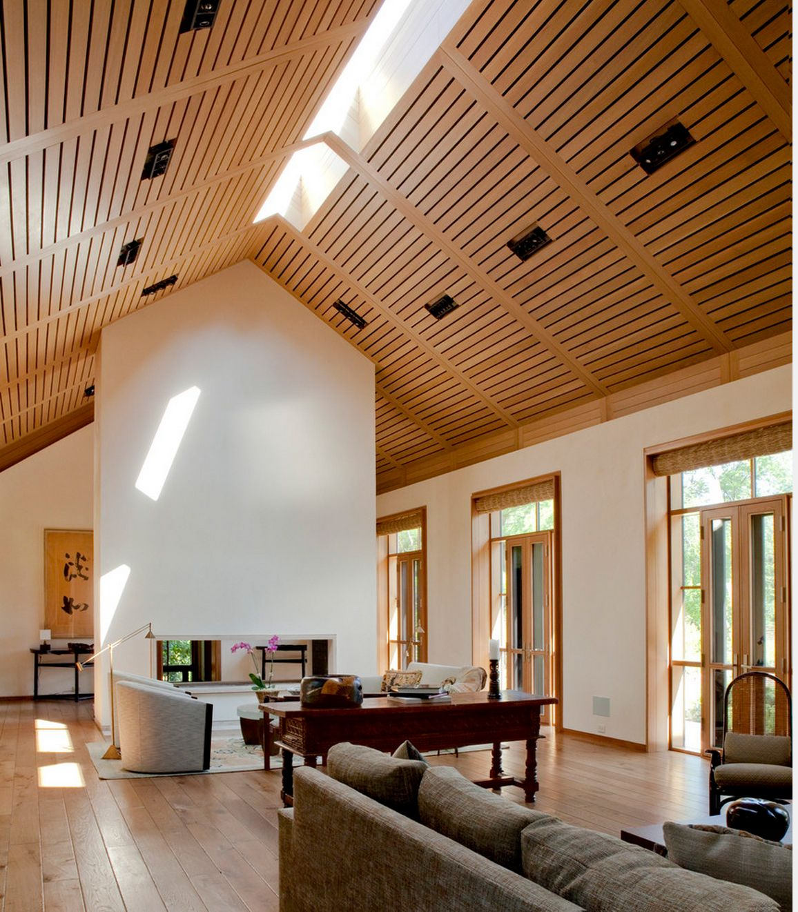 20 Cool Basement Ceiling Ideas: A Modern Take On A Vaulted Ceiling! Very Cool. From Houzz